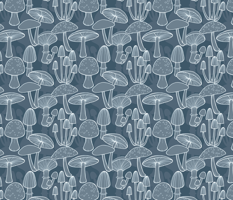 Mushrooms - midnight blue fabric by hazel_fisher_creations on Spoonflower - custom fabric