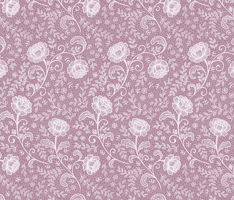 Lace full pattern - White on Orchid fabric by hazel_fisher_creations on Spoonflower - custom fabric