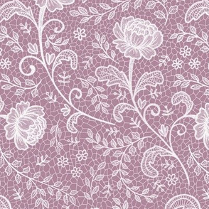 Lace full pattern - White on Orchid