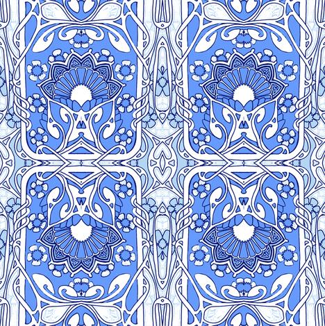 Flower Heart Blues fabric by edsel2084 on Spoonflower - custom fabric