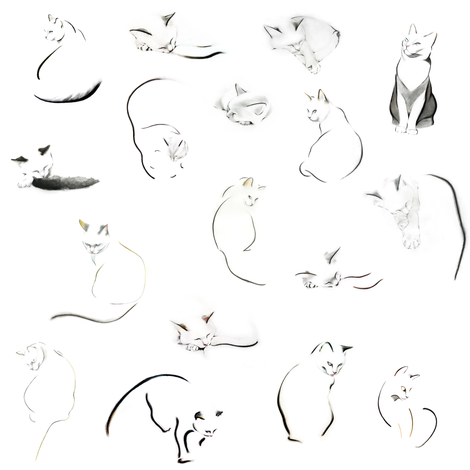 Many minimalist cats fabric by kellascampbell on Spoonflower - custom fabric