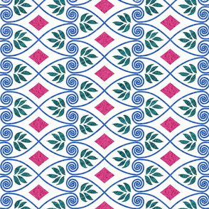 Minoan-favorite-textile-design-EWBarber-2-batiktextures-trueblue-cherryred-forestgreen-WHITE-ROTATATED