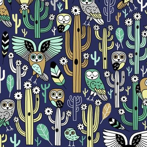 desert owls - navy