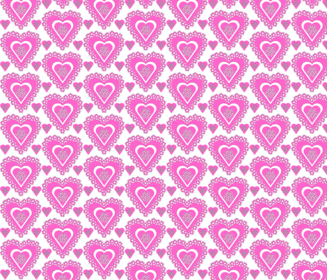 Valentines Hearts Pink Roses and Hearts Fabric #3 fabric by lworiginals on Spoonflower - custom fabric