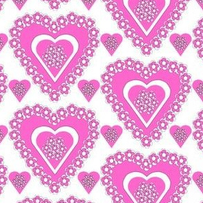 Valentines Hearts Pink Roses and Hearts Fabric #3