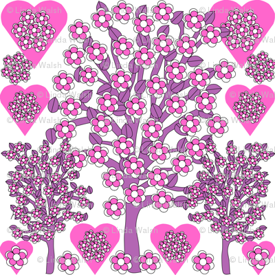 Valentines Hearts Pink Roses, Trees and Hearts Fabric #2