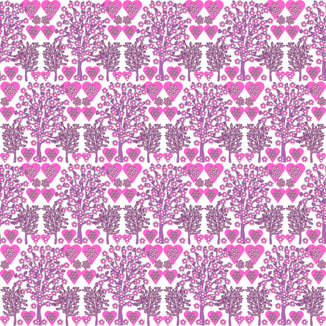 Valentines Hearts Pink Roses, Trees and Hearts Fabric #2 fabric by lworiginals on Spoonflower - custom fabric