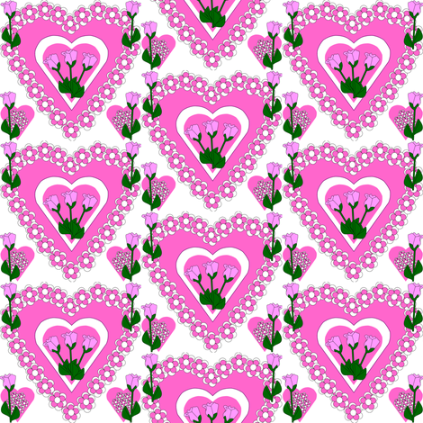 Valentines Hearts Pink Roses and Hearts Fabric fabric by lworiginals on Spoonflower - custom fabric