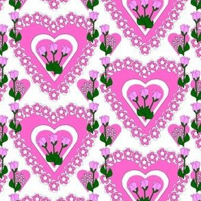 Valentines Hearts Pink Roses and Hearts Fabric