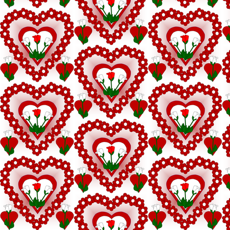 Valentines Hearts Red and White Roses and Hearts Fabric #5 fabric by lworiginals on Spoonflower - custom fabric