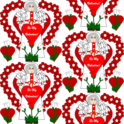 Valentines Hearts Celia's Red and White Roses and Hearts Fabric #4 fabric by lworiginals on Spoonflower - custom fabric