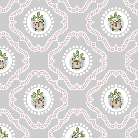 Wind Flower damask Grey fabric by woodmouse&bobbit on Spoonflower - custom fabric