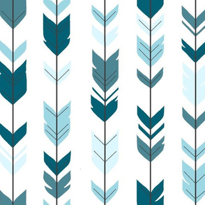 Arrow feathers - Winslow Blues on White - Teal