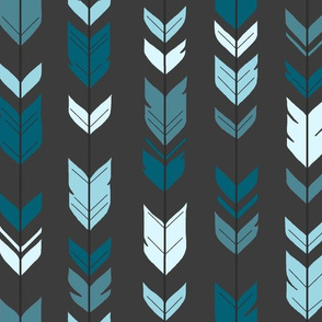 Arrows Feathers - Winslow Blues and Teals on Dark Gray- Charcoal Grey