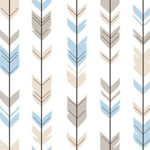 Arrow Feathers - Baby Blue/Cream on white - CottonWood