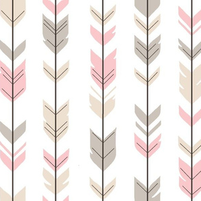 Arrow Feathers - tan and Pink on white
