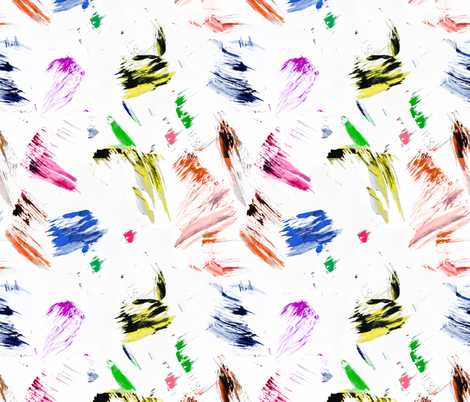 Colorful paint brush strokes painting splatter blue yellow pink orange fabric by jenlats on Spoonflower - custom fabric