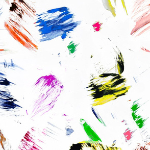 Colorful paint brush strokes painting splatter blue yellow pink orange