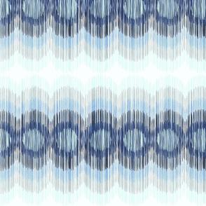 Scalloping Circles Ikat Blue and Gray