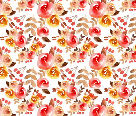 autumn watercolor floral  fabric by smallhoursshop on Spoonflower - custom fabric