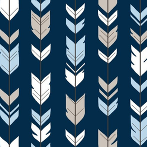 Arrow Feathers - Baby Blue/White/Navy - CottonWood