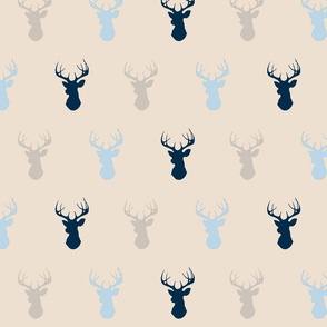 Deer- baby blue/navy on cream - Cottonwood-ch