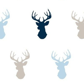 Deer- baby blue/beige/navy on white - -cottonwood-ch-ch