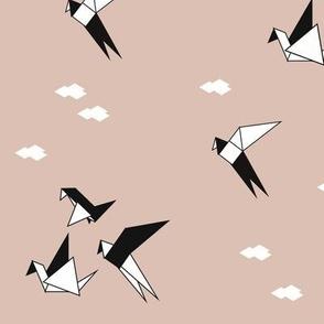 Geometric birds - cranes black and white on blush pink