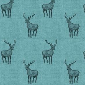Mint Stag on Linen