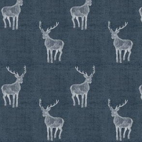 Navy Winter Stag on Linen