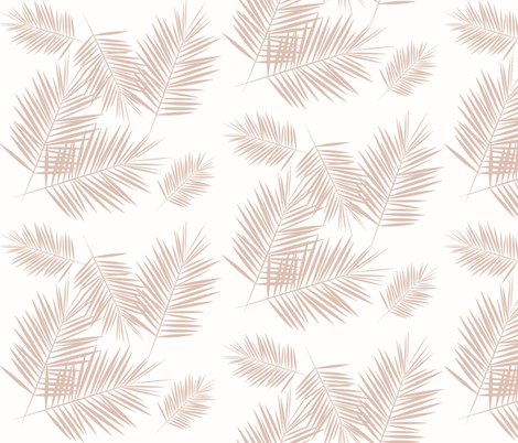 Palm leaf - blush on white tropical palm tree fabric by sunny_afternoon on Spoonflower - custom fabric