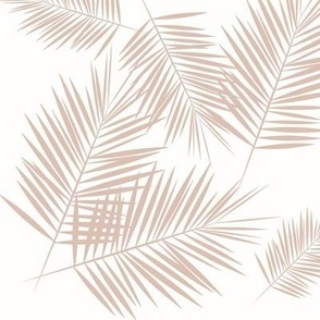 Palm leaf - blush on white tropical palm tree
