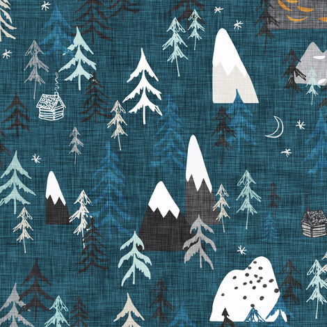 Forest Peaks (midnight blue)  fabric by nouveau_bohemian on Spoonflower - custom fabric
