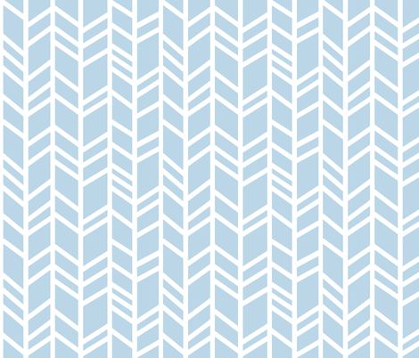 Crazy herringbone- Baby blue and white - Cottonwood - baby boy nursery fabric by sugarpinedesign on Spoonflower - custom fabric