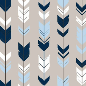 Arrow Feathers - -Baby Blue/navy/beige - CottonWood