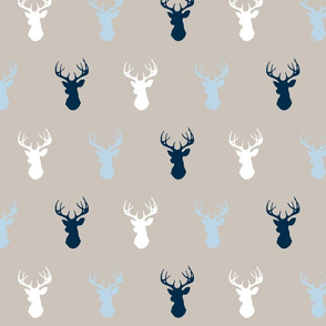Deer- baby blue/beige/white/navy - Cottonwood-ch-ch-ch