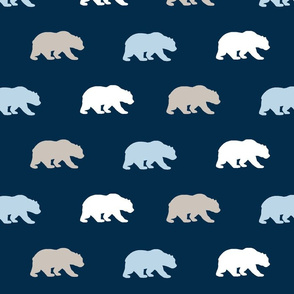 Bears - beige, white, baby blue on navy - cottonwood