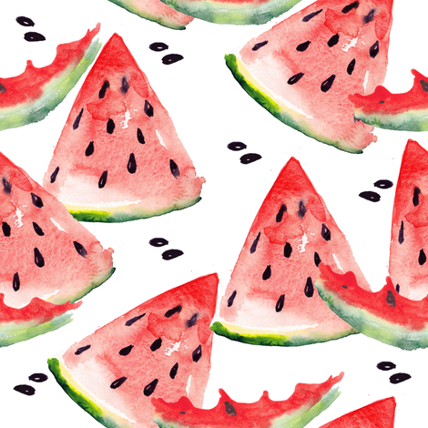 Watercolor watermelon  fabric by magic_pencil on Spoonflower - custom fabric