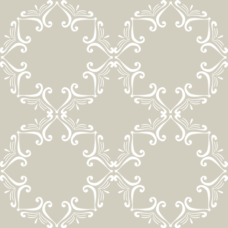 Sweet Friends Scroll - White Scroll on Tan fabric by shopcabin on Spoonflower - custom fabric