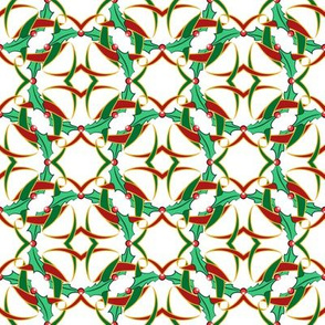 Celtic Christmas Holly Wreath Pattern on White