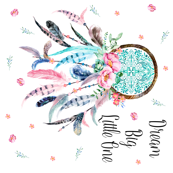 "36""X36"" - Pink & Aqua Dream Catcher with Quote Dream Big Little One"
