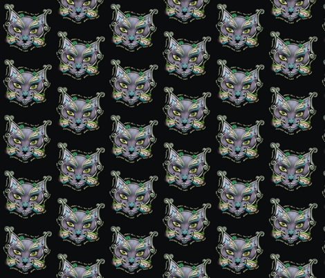 """Cat """"Man Do"""" Charity Black fabric by lavesoap on Spoonflower - custom fabric"""