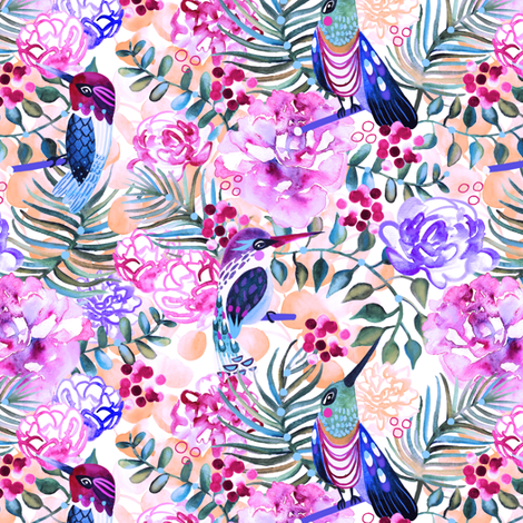 Hummingbirds fabric by bermudezbahama on Spoonflower - custom fabric