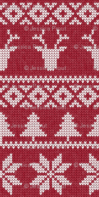 micro print - fair isle deer (red) || snowflake || winter knits