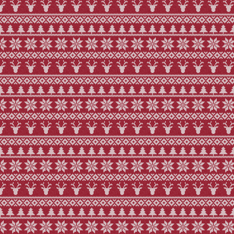 micro print - fair isle deer (red) || snowflake || winter knits fabric by littlearrowdesign on Spoonflower - custom fabric