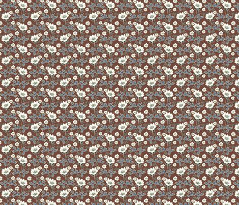 Prarie Wildflowers Chocolate ditsy fabric by kirstenkatz on Spoonflower - custom fabric