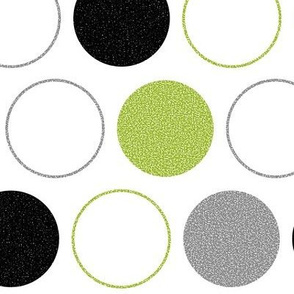 Grainy Polka Dots (Green/Gray/Black)