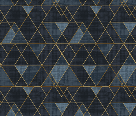 Indigo Triangles Gold fabric by crystal_walen on Spoonflower - custom fabric