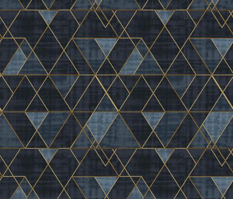 Mod Triangles Gold Indigo fabric by crystal_walen on Spoonflower - custom fabric