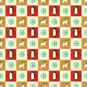 Penguins and reindeer celebrating Christmas
